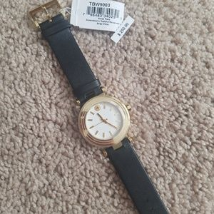 Nwt Tory Burch TBW9003 black and gold watch